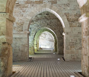 Knights' Halls at old city of acre Stock Photos