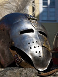 Knights helmet. Medieval knights helmet with visor outdoors Stock Photo