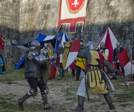 Knights in historical re-enactment at Pisa Royalty Free Stock Photo