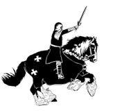 Fighting Knight On Horseback Illustration Stock Photos