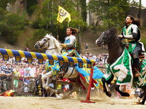 Medieval Knights Horse Riding, Prague Castle royalty free stock photos
