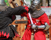 Knights inflict mutual blows Royalty Free Stock Image
