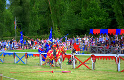 Knights joust. England vs Scotland knights joust at the annual Hever Castle International Jousting Tournament,July 31st 2016 Stock Photos