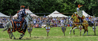 Knights joust in front of an excited crowd Royalty Free Stock Image