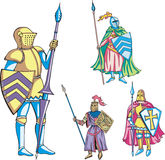 Knights with lance. Medieval knights with lance. Set of color vector illustrations Royalty Free Stock Photography