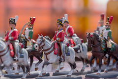 Knights lead Soldiers. Representing army on a natural background Royalty Free Stock Photos