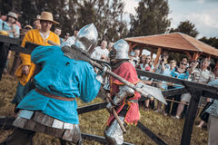 Knights. Minsk, Belarus - June 18, 2016: Festival The Age of chivalry - Knightly fight Royalty Free Stock Photography
