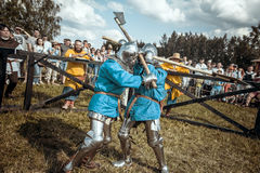 Knights. Minsk, Belarus - June 18, 2016: Festival The Age of chivalry - Knightly fight Royalty Free Stock Image