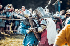 Knights. Minsk, Belarus - June 18, 2016: Festival The Age of chivalry - Knightly fight Royalty Free Stock Photo