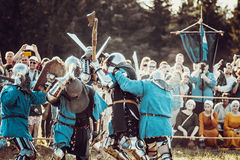 Knights. Minsk, Belarus - June 18, 2016: Festival The Age of chivalry - Knightly fight Stock Image