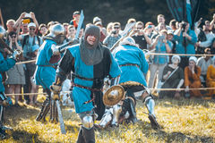 Knights. Minsk, Belarus - June 18, 2016: Festival The Age of chivalry - Knightly fight Stock Photo