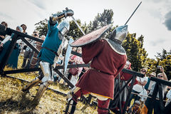 Knights. Minsk, Belarus - June 18, 2016: Festival The Age of chivalry - Knightly fight Stock Photography