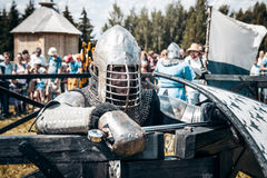 Knights. Minsk, Belarus - June 18, 2016: Festival The Age of chivalry - Knightly fight on swords Stock Image