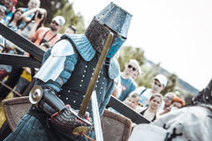 Knights. Minsk, Belarus - June 18, 2016: Festival The Age of chivalry - Knightly fight on swords Stock Images