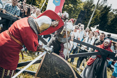 Knights. Minsk, Belarus - June 18, 2016: Festival The Age of chivalry - Knightly fight on swords Royalty Free Stock Photo