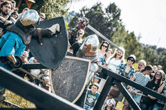 Knights. Minsk, Belarus - June 18, 2016: Festival The Age of chivalry - Knightly fight on swords Royalty Free Stock Images