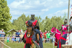 Knights. Minsk, Belarus - June 18, 2016: Festival The Age of chivalry - knights tournament Royalty Free Stock Photo