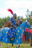 Knights. Minsk, Belarus - June 18, 2016: Festival The Age of chivalry - knights tournament Royalty Free Stock Photos