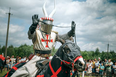Knights. Minsk, Belarus - June 18, 2016: Festival The Age of chivalry - knights tournament Stock Images