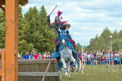 Knights. Minsk, Belarus - June 18, 2016: Festival The Age of chivalry - knights tournament Royalty Free Stock Image