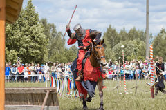 Knights. Minsk, Belarus - June 18, 2016: Festival The Age of chivalry - knights tournament Royalty Free Stock Photography