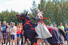Knights. Minsk, Belarus - June 18, 2016: Festival The Age of chivalry - knights tournament Stock Photo
