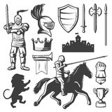 Knights Monochrome Elements Set. With medieval castle heraldic symbols armored warriors edged weapon isolated vector illustration Stock Photography
