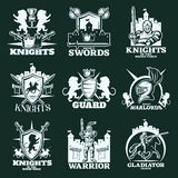 Knights Monochrome Emblems Royalty Free Stock Photography