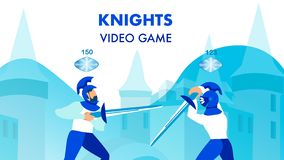 Knights Multiplayer Video Game Flat Poster Concept royalty free illustration