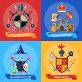 Knights o quadrado liso dos ícones do conceito 4 ilustração do vetor
