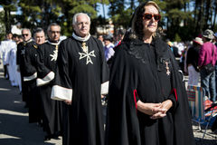 Knights of the Order of Malta at the Sanctuary of Fatima during the celebrations of the apparition of the Virgin Mary in Fatima, P. Fatima, Portugal - May 13 Royalty Free Stock Image