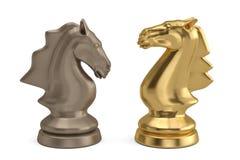 Knights a parte de xadrez no fundo branco ilustração 3D ilustração stock