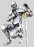 A Knights Pledge 03 - Shining Armour. An armoured knight in shining armour kneels to pledge his sword Stock Photos