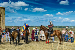 Knights prepare for battle. Sergiev Posad - August 27, 2011:Knights prepare for battle to the Festival of medieval culture Red Field in Sergiev Posad, Moscow Stock Photography