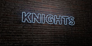 KNIGHTS -Realistic Neon Sign on Brick Wall background - 3D rendered royalty free stock image Royalty Free Stock Photography