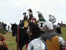 Knights on the reconstruction of the Battle of Grunwald Royalty Free Stock Images