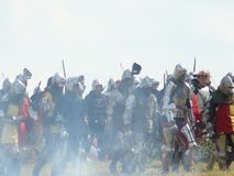 Knights on the reconstruction of the Battle of Grunwald Stock Images