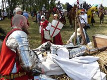 Knights on the reconstruction of the Battle of Grunwald Stock Photos