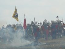 Knights on the reconstruction of the Battle of Grunwald Royalty Free Stock Photography