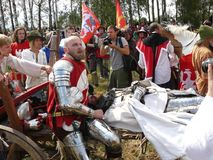Knights on the reconstruction of the Battle of Grunwald Stock Photography