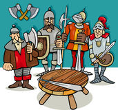 Knights of the round table cartoon Stock Photos
