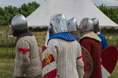 Knights with Silver Helmets and Armors in Line ready for Battle Royalty Free Stock Image