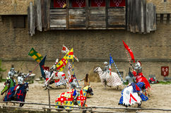 Knights with spears circling Sainte Marguerite in the theme park of Puy du fou, France Royalty Free Stock Photography