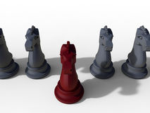 Knights step up concept. 3D rendered illustration of the promotion concept. Multiple chess knights pieces are arranged in a line and one piece is colored in red Stock Photography