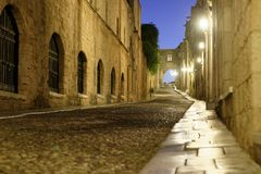 Knights Street in Rhodes, Greece. Night view to Knights Street in Rhodes, Greece Stock Photography