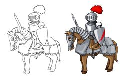 Knights Suit Body Protection Armor with Sword and Shield cartoon illustration vector illustration