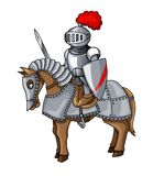 Knights Suit Body Protection Armor with Sword and Shield cartoon illustration stock photos