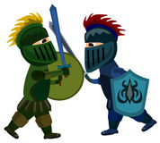 Knights sword fight. Two cartoon knights fighting with their swords Royalty Free Stock Photos