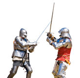 Knights tournament. Two knights competing in a tournament. White background Royalty Free Stock Photo