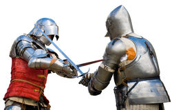 Knights tournament. Two knights competing in a tournament. White background Stock Photo